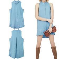 Casual Womens Summer Sleeveless Evening Party Cocktail Denim Mini Dress Q9Y7