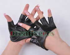 Women Girl Leather Half palm Gloves Singer Punk JAZZ Dancing Gloves Fingerless