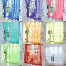 Home Floral Tulle Voile Door Window Curtain Drape Panel Sheer Scarf Valances