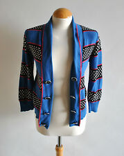 Ladies Next Blue Striped 3/4 Sleeve Button Detailed Cardigan Casual Polka Dot 8