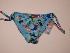 Women Swim wear Bikini Bottom In Mocean Medium Blue With Parakeet Graphic