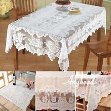 Lace Tablecloth Square White IN HAND Floral Rose Cover Elegant Dining Table