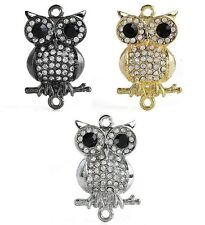 10pc Crystal Owl Connector Link Bead Charm C0542
