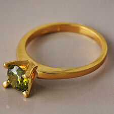 Womens Charming Gold Filled Olive Cubic Zirconia Wedding Rings 7-9 Lady Ring
