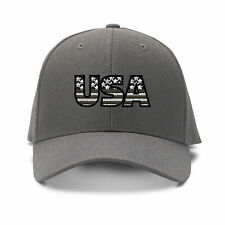 Usa Gray American Flag Embroidery Embroidered Adjustable Hat Baseball Cap