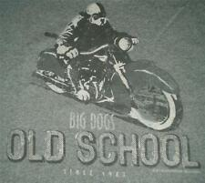 Big Dogs Tee Shirt Charcoal Grey Gray Old School Biker Motorcycle Large NEW