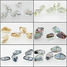 7.4x4.3mm Faceted Glass Crystal Charm Loose Spacer Teardrop Triangle Beads 5pcs