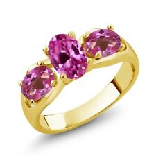 1.90 Ct Pink Created Sapphire Mystic Topaz 18K Yellow Gold Plated Silver Ring