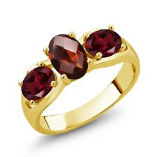 1.80 Ct Oval Red Garnet Red Rhodolite Garnet 18K Yellow Gold Plated Silver Ring