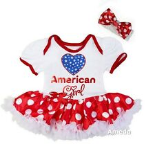 4th July Baby American Girl White Red Polka Dots Bodysuit Tutu and Headband