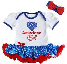4th of July Baby American Girl White Blue Star Bodysuit Tutu and Headband