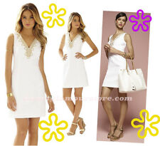 $198 Lilly Pulitzer Bentley Resort White Gold Lace Detail V-Neck Shift Dress