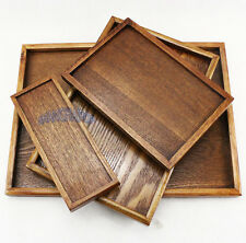 Wooden Wood Serving Tray Tea Food Dinner Rectangle Plate Vintage Chinese Korean