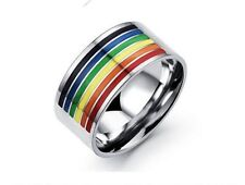 Gay Lesbian LGBT Pride Ring Rainbow Wedding 316L Stainless Steel Size 7-12