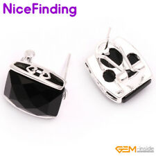 Fashion Jewelry Square Silver Plated Omega Back Stud Earrings Women Mother Gift