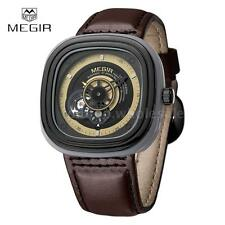 MEGIR Mens Automatic Mechanical Watch Square Dial Leather Sports Wristwatch W3U1