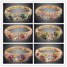 Women 18K Gold Plated Crystal Hollow Out Flower Bangle & Bracelet Jewelry