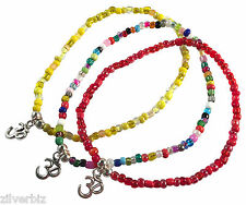 ANKLET OHM Yoga CHARM Glass Seed Beads on Elastic - 9 Colour Choices 5 Sizes