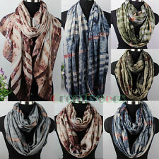 Vintage Scarf Women Scarf Staining Graffiti Plaid Soft Long Scarf/Infinity Scarf