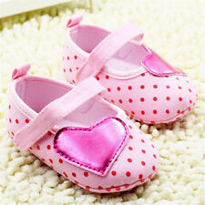 Infants Baby Girls Pink First Shoes Crib Shoes Soft Soles Size 0-18 Months