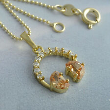 18K Real Gold Filled CZ Long Chain Pendant+Necklace 4 Colour Choice