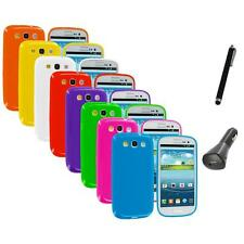 TPU Jelly Solid Rubber Case Cover+Charger+Pen for Samsung Galaxy S III S3 i9300