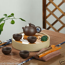 Chinese kungfu tea set yixing zisha/porcelain tea pot cup crude pottery tea tray