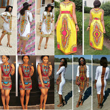 Summer Women Traditional African Print Dress Casual Clubwear Party Mini Dress