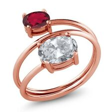 2.30 Ct Oval White Topaz Ruby Red Mystic Topaz 18K Rose Gold Plated Silver Ring