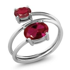 2.45 Ct Oval Red Created Ruby African Red Ruby 925 Sterling Silver Ring