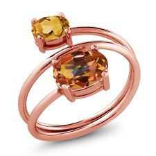2.10 Ct Ecstasy Mystic Topaz Yellow Citrine 18K Rose Gold Plated Silver Ring
