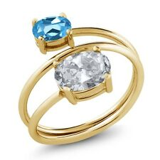 2.30 Ct Oval White Topaz Swiss Blue Topaz 18K Yellow Gold Plated Silver Ring
