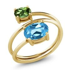 2.30 Ct Swiss Blue Topaz Green Tourmaline 18K Yellow Gold Plated Silver Ring