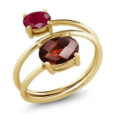 2.60 Ct Oval Checkerboard Garnet Red Ruby 18K Yellow Gold Plated Silver Ring