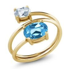 2.30 Ct Oval Swiss Blue Topaz Sky Blue Topaz 18K Yellow Gold Plated Silver Ring
