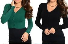 Button Front Vee Neck Long Sleeve Sweater Knit Cropped Top Green