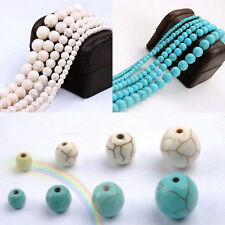 20-100Pcs Howlite Turquoise Gemstone Round Loose Beads Jewelry Making 4/6/8/10mm