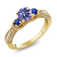 1.90 Ct Round Blue Mystic Topaz Blue Sapphire 18K Yellow Gold Plated Silver Ring