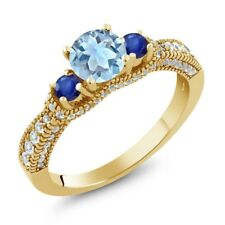 1.75 Ct Round Sky Blue Topaz Blue Sapphire 18K Yellow Gold Plated Silver Ring