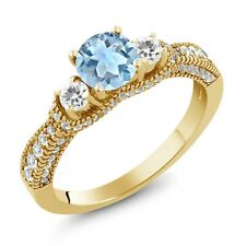2.15 Ct Round Sky Blue Topaz White Sapphire 18K Yellow Gold Plated Silver Ring