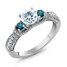 1.94 Ct Round Sky Blue Aquamarine Blue Diamond 925 Sterling Silver Ring