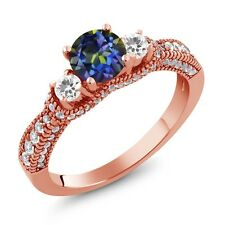 2.25 Ct Round Blue Mystic Topaz White Sapphire 18K Rose Gold Plated Silver Ring