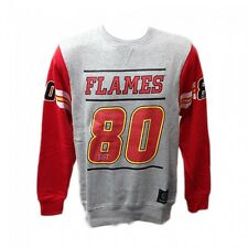 Majestic Athletic Grey Holcon NHL Calgary Flames Hockey Red Crew Sweat Jumper