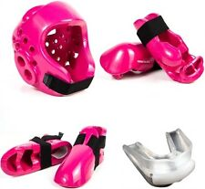 Karate Tae Kwon Do Sparring Gear Set with Headgear Hand Foot Pads - Pink