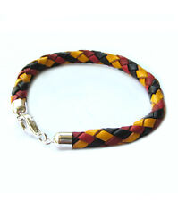 EM Football Bracelet Leather bracelet braided Germany Closure 925 Silver