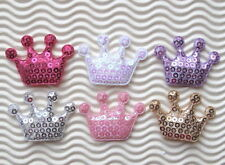 "US SELLER - 60 pcs x (1 5/8"") Padded Shiny Sequined Felt Crown Appliques ST522M"