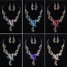 Fascinating Butterfly Flower Rhinestone Pendant Necklace Earrings Jewelry Set