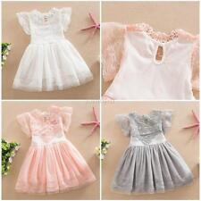 Sweet Summer Kids Baby Girl Lace Princess Dress Cotton Tulle Floral Party Dress