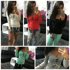 Fashion Women V-Neck Cross Tie Lace Up Long Sleeve T-Shirt Sexy Crop Top Blouse