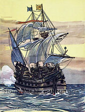 Pirate Ship ~ Sailing Ships, Seascapes ~ Counted Cross Stitch Pattern